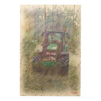 森林のトラクター ウッドウォールアート