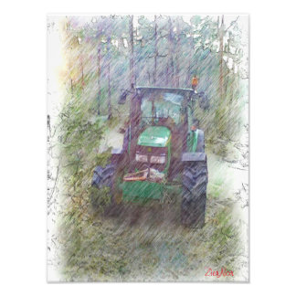 森林のトラクター フォトプリント
