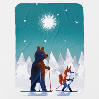 森林の星の下のかわいいくまおよびキツネのスキー ベビー ブランケット