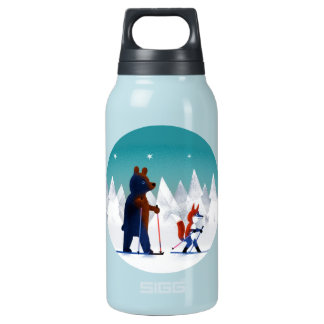 森林の星の下のかわいいくまおよびキツネのスキー 断熱ウォーターボトル