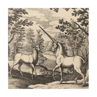 森林の神話上のユニコーン ウッドウォールアート