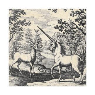 森林の神話上のユニコーン キャンバスプリント