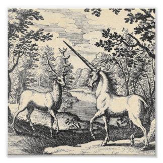 森林の神話上のユニコーン フォトプリント
