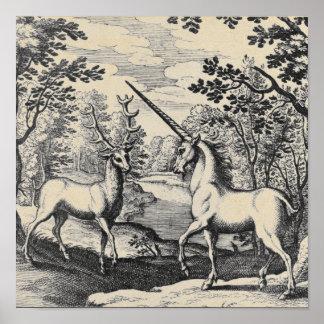 森林の神話上のユニコーン ポスター