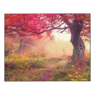 森林の秋の木との威厳のあるな景色 ウッドウォールアート