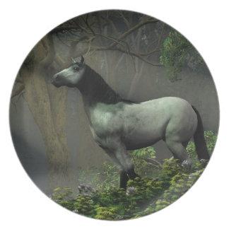 森林の野生の馬 プレート