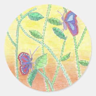 森林の2匹の蝶 ラウンドシール