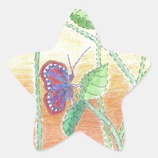 森林の2匹の蝶 星シール