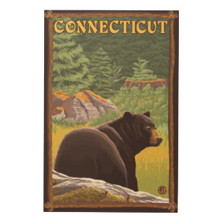 森林のConnecticutBlackくま ウッドウォールアート