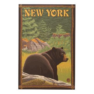 森林のYorkBlack新しいくま ウッドウォールアート