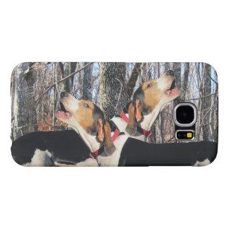 森林を遠ぼえしているTreeingの歩行者のCoonhounds Samsung Galaxy S6 ケース