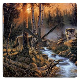 森林オオカミの柱時計 スクエア壁時計