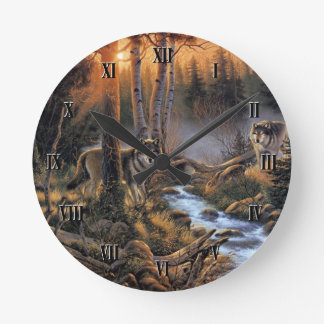 森林オオカミの柱時計 ラウンド壁時計
