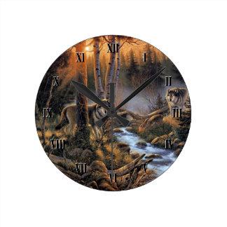 森林オオカミの柱時計 壁時計