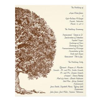 森林オークの木の結婚式プログラム レターヘッド