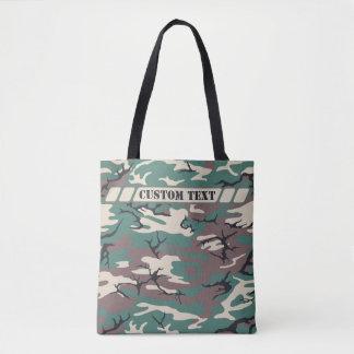 森林カスタムな文字が付いている緑の迷彩柄のトート トートバッグ