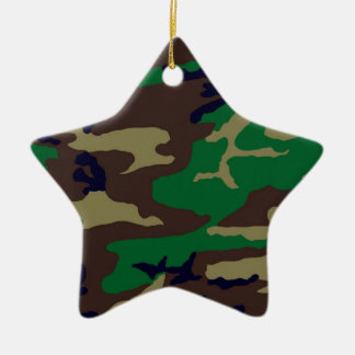 森林カムフラージュの星 陶器製星型オーナメント