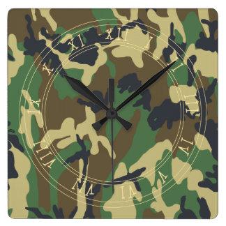 森林カムフラージュパターン 壁時計