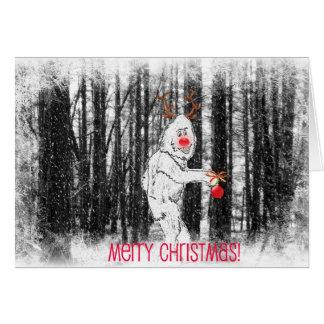 森林クリスマスカードのビッグフット カード