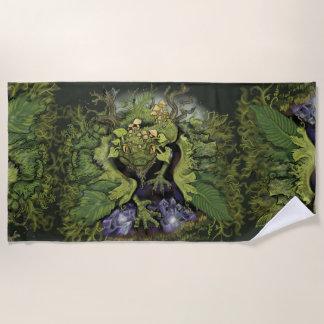 森林コケの魔法のドラゴン ビーチタオル