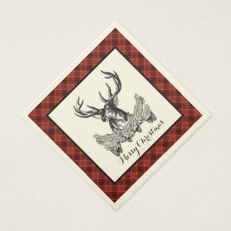 森林シカの休日の格子縞の紙ナプキン スタンダードランチョンナプキン