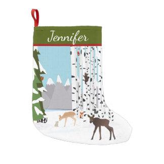 森林テーマの名前入りなストッキング スモールクリスマスストッキング