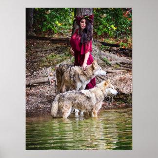 森林ニンフおよび彼女のウルフパック ポスター