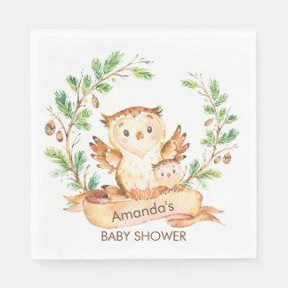森林フクロウのベビーシャワーの紙ナプキン スタンダードランチョンナプキン