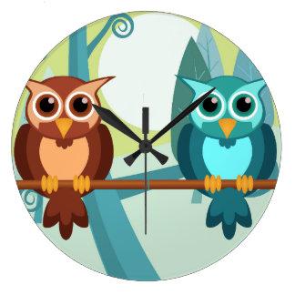 森林フクロウの円形の時計 ラージ壁時計