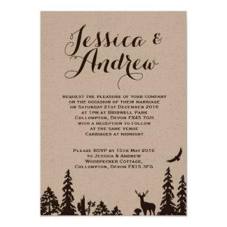 森林ブラウンクラフトの結婚式招待状 カード