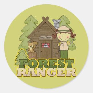 森林レーンジャー-ブルネットの女の子 ラウンドシール