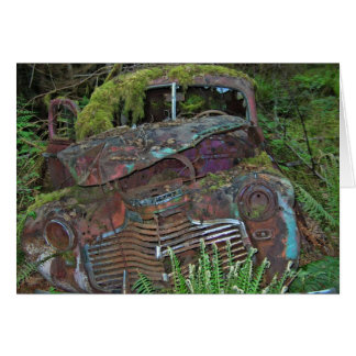 森林写真の古い車の大破 カード