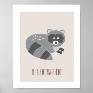 森林友人- Rはアライグマの芸術のプリントのためです ポスター