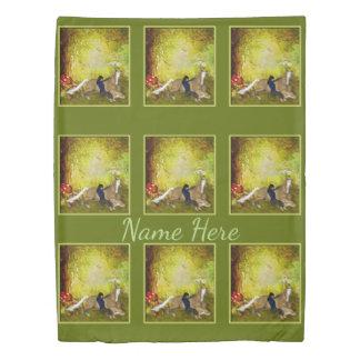 森林名前入りな動物の馬を持つ女の子 掛け布団カバー