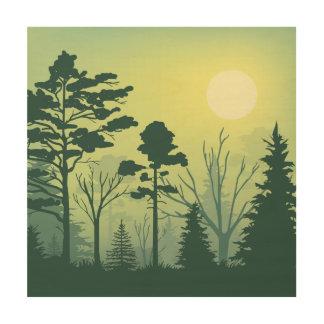 森林夕べの絵 ウッドウォールアート