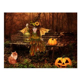 森林妖精が付いているハロウィンの魅了された郵便はがき ポストカード