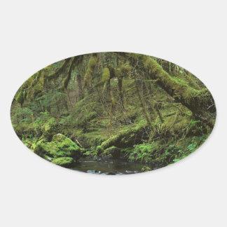 森林平和なアラスカ 楕円形シール