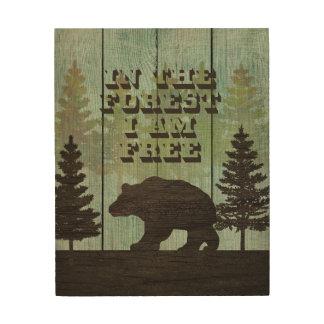 """森林引用文のくま、8"""" x10""""木製の壁の芸術 ウッドウォールアート"""