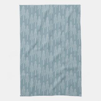 森林松の木のふきん-静かに青 キッチンタオル