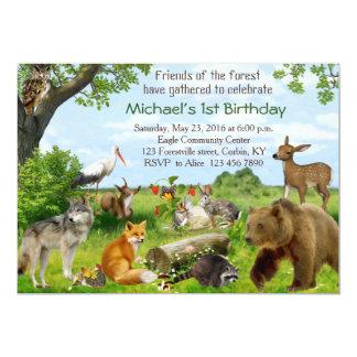 森林森林友人の誕生日の招待状 12.7 X 17.8 インビテーションカード