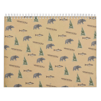 森林森林素朴なくまの魚の木のプリント カレンダー