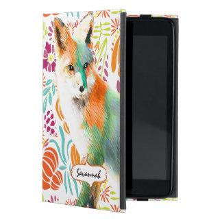 森林水彩画のキツネの森林民芸の花柄 iPad MINI ケース