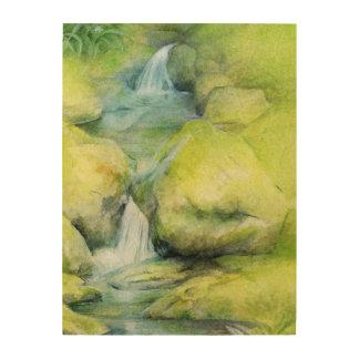 森林流れの滝の絵画の木製のプリント ウッドウォールアート