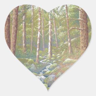 森林流れ、ピーク地区のハートのステッカー ハートシール