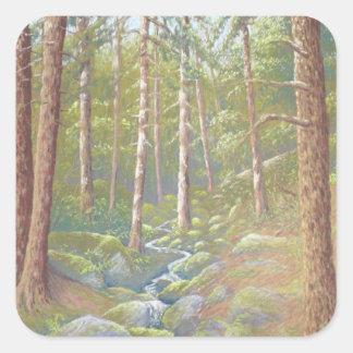 森林流れ、ピーク地区の正方形のステッカー スクエアシール