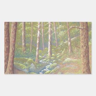 森林流れ、ピーク地区の長方形のステッカー 長方形シール