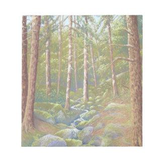 森林流れ、ピーク地区、ダービーシャーのメモ帳 ノートパッド