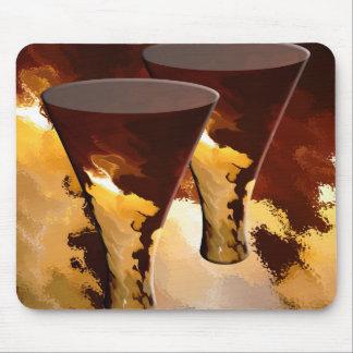 森林火災の飲料ガラスの蝋燭の金ゴールドブラウン マウスパッド