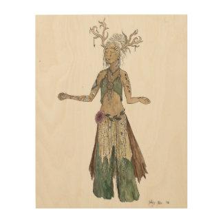 森林精神の女神の水彩画のスケッチ ウッドウォールアート