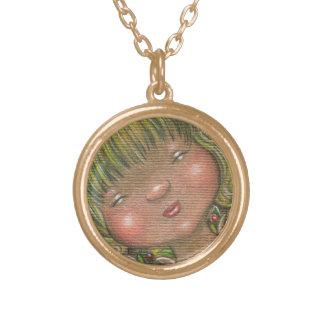 森林精神の眠いヘッド妖精のネックレス ゴールドプレートネックレス